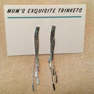 Silver Fancy Multi-Strand Post Dangle Earrings